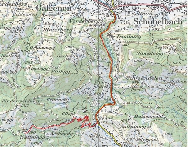 Strecke Bergrennen Siebnen SZ - Sattelegg